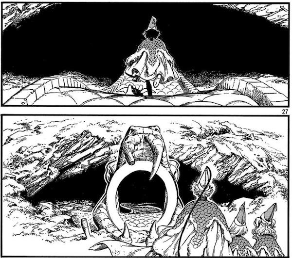 「とんがり帽子のアトリエ」(白浜鴎)19話より、試験会場の蛇の背洞窟へ向かうアガット