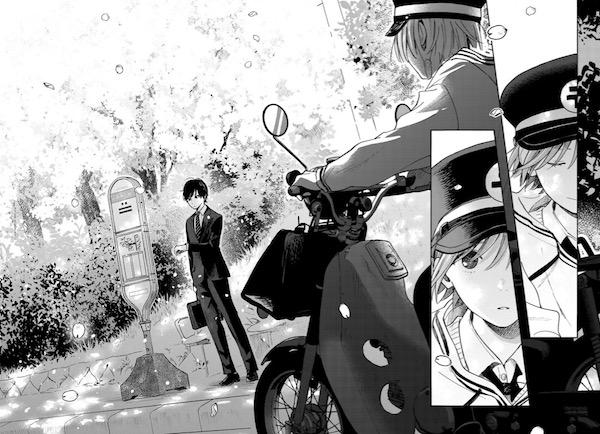 「やさしいヒカリ」(中村ひなた)1巻より、配達中にスーツ姿の三宅と出会う日和子