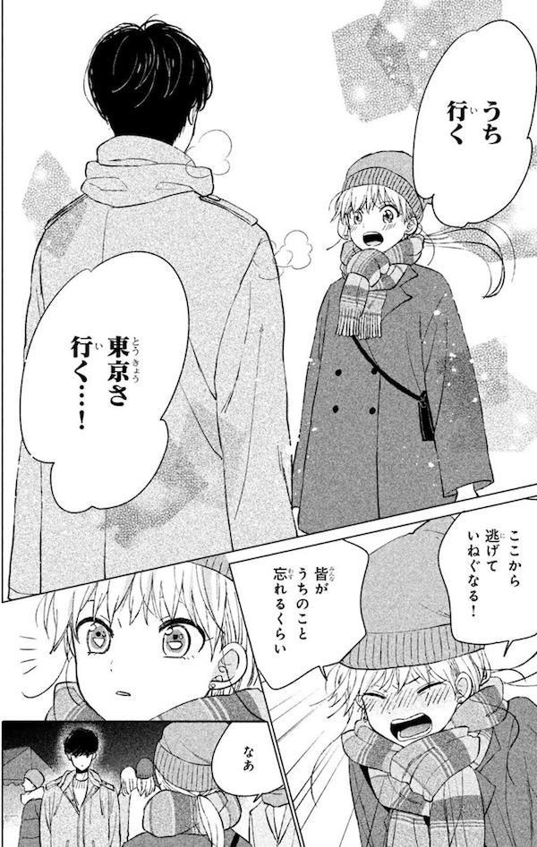 「あつもりくんのお嫁さん(←未定)」(タアモ)1巻より、東京へ行く決意をする錦