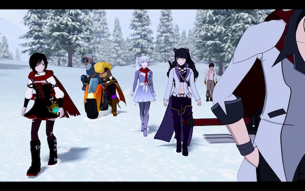 「RWBY(ルビー)Volume 6」予告編より、雪道を歩くルビーたち