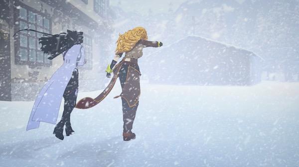"""「RWBY(ルビー)Volume 6」第5話 """"The Coming Storm"""" より、吹雪の中を進むヤンブレ"""