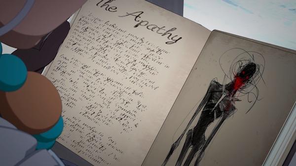"""「RWBY(ルビー)Volume 6」第6話 """"Alone in the Woods"""" より、日記に描かれたグリムの姿"""