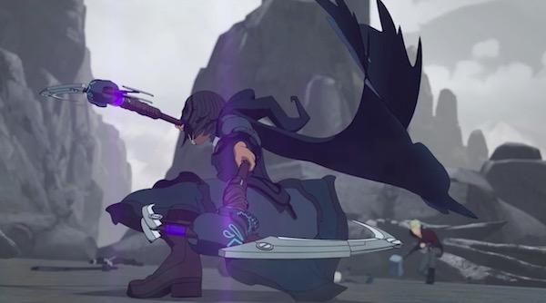 """「RWBY(ルビー)Volume 6」第7話 """"The Grimm Reaper"""" より、マリーアの戦闘シーン"""