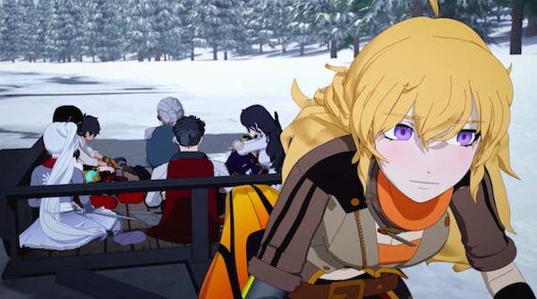 "「RWBY(ルビー)Volume 6」第7話 ""The Grimm Reaper"" より、マリーアの昔話を聞く一同"