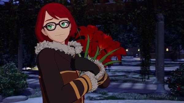 """「RWBY(ルビー)Volume 6」第9話 """"Lost"""" より、ピュラの像に花を供える女性"""