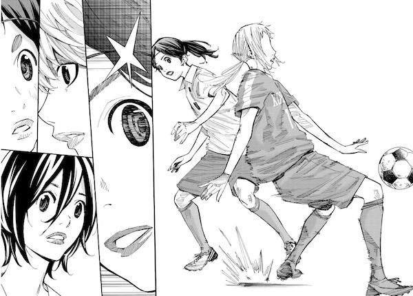 「さよなら私のクラマー」(新川直司)33話より、恩田からボールを奪う九谷
