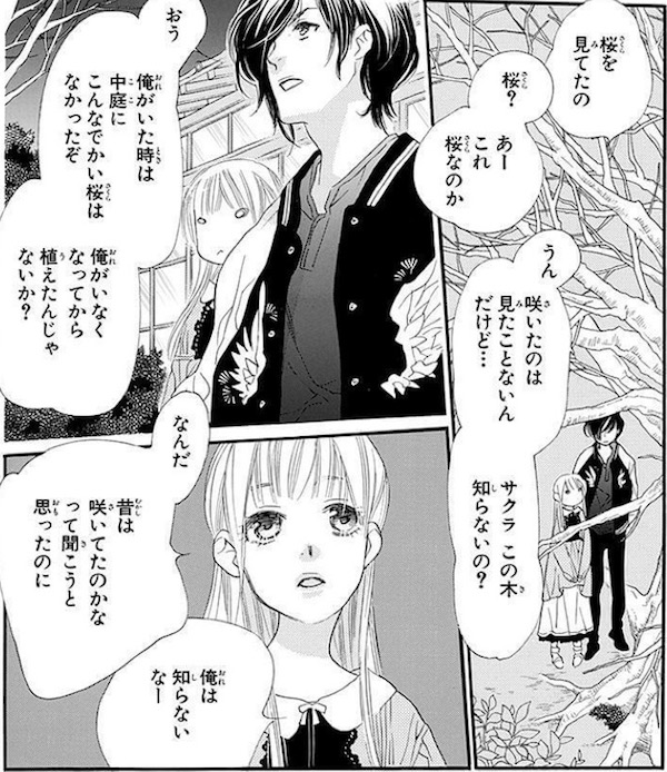 「桜の花の紅茶王子」(山田南平)1巻より、咲かない桜の木を見上げる吉乃たち
