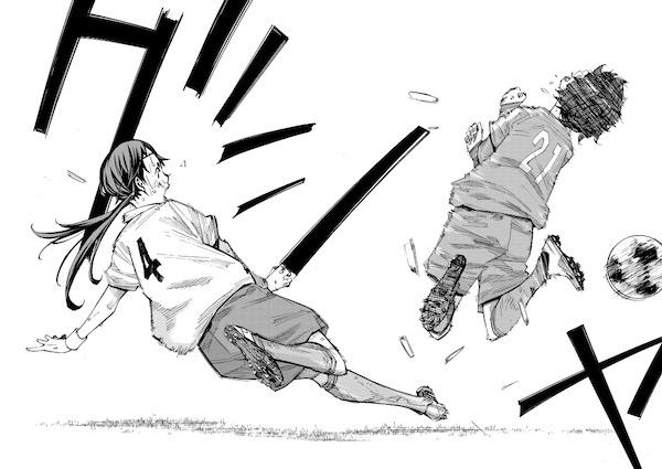 「さよなら私のクラマー」(新川直司)36話より、ファールで梅芽を止めに行く曽志崎