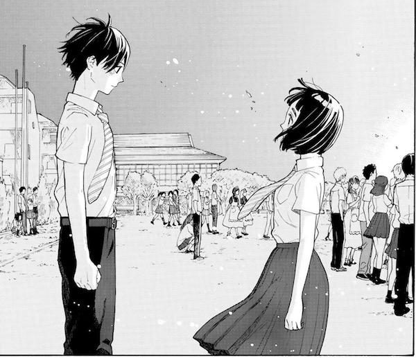 「荒ぶる季節の乙女どもよ。」(岡田麿里、絵本奈央)5巻より、キャンプファイヤーで向き合う和紗と泉
