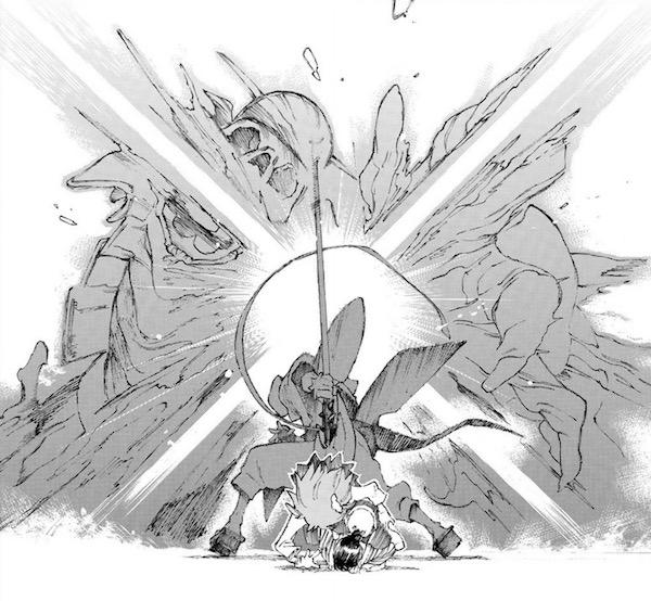 「Fate/Grand Order -Epic of Remnant- 英霊剣豪七番勝負」(渡れい)1巻より、立香たちをかばう宝蔵院胤瞬