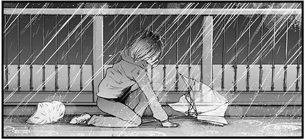 「【推しの子】」(赤坂アカ、横槍メンゴ)25話より、雨の中座り込む黒川あかね