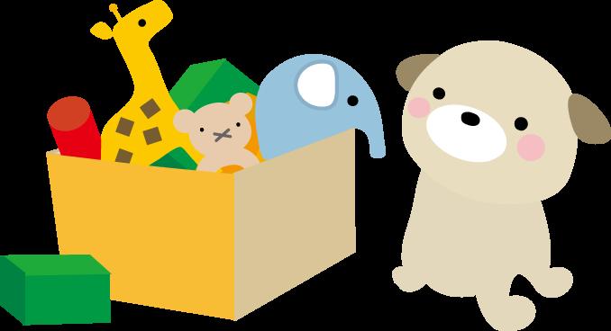 おもちゃ箱と犬