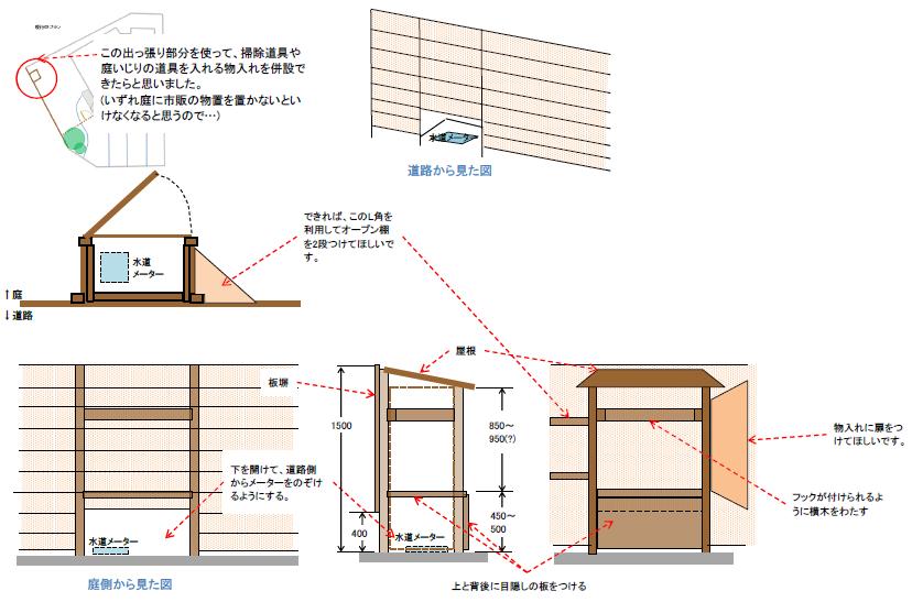 木製の造作物置のイメージ図