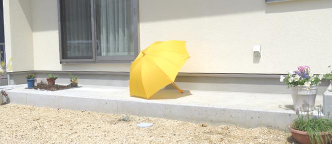犬走りに干した傘