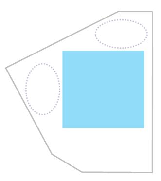 扇形の敷地に四角の間取り