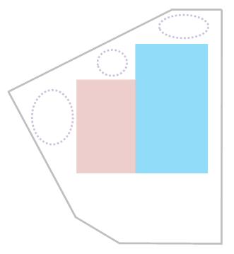 扇形の敷地に四角を二つくっつけた間取り