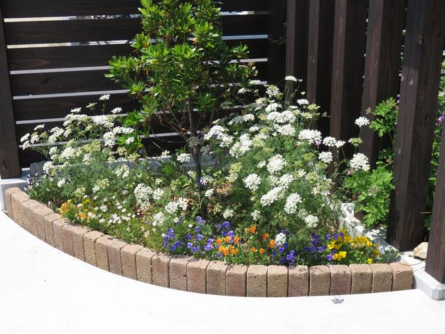 春のコーナー花壇の画像