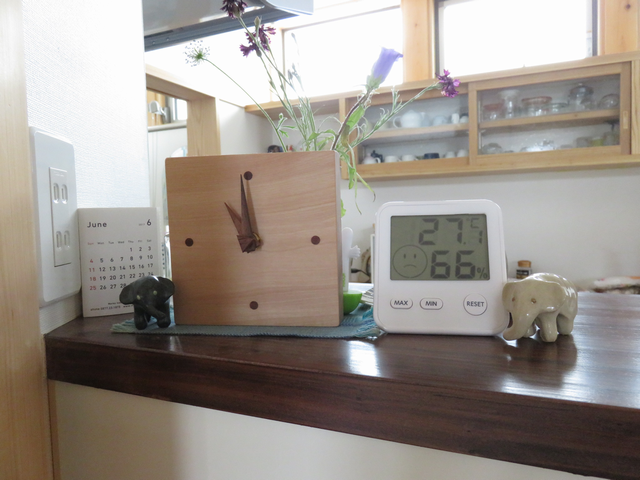 温湿度計を置いたカウンターの画像