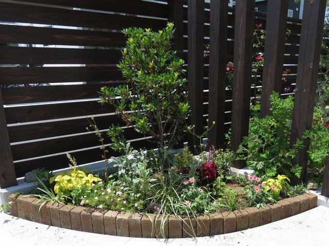 植え替え後のコーナー花壇