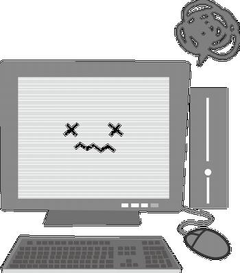 故障したパソコンのイラスト