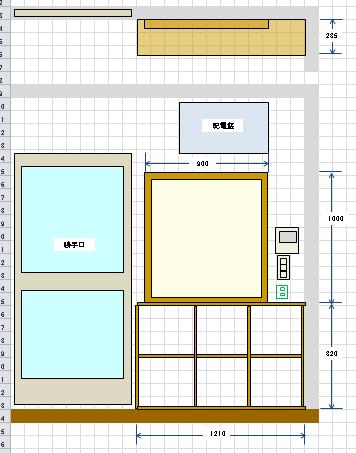 エクセルで作る設計図寸法線
