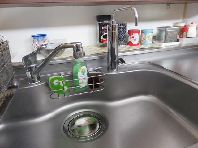 タカラのキッチンのシンクに入れたサンエイの排水プレートの画像