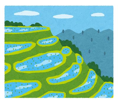 田舎の棚田 風景のイラスト