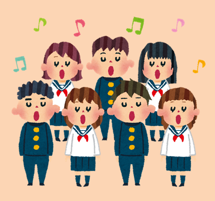 合唱する学生のイラスト