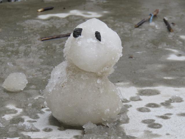 子供たちが作った雪だるまの画像