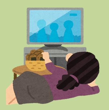 寝転んでテレビを見る主婦のイラスト