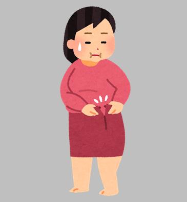 太って服のサイズが合わなくなった女性のイラスト