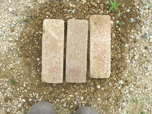 地面に埋まったレンガのステップ