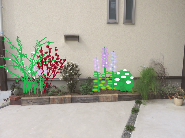 2019年春の駐車場花壇の予想図
