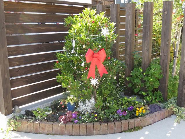 イチゴノキをクリスマスの飾りで飾った様子