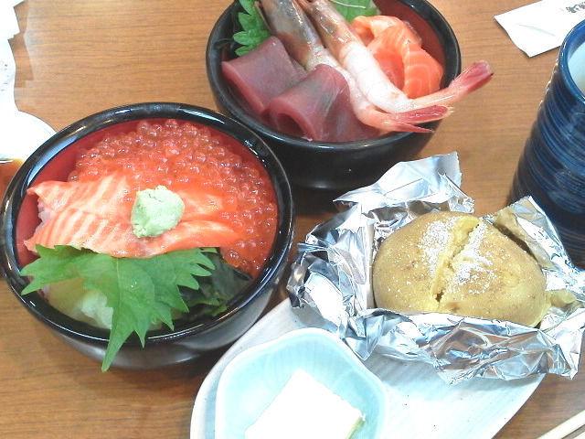 新鮮な海鮮丼とジャガバター
