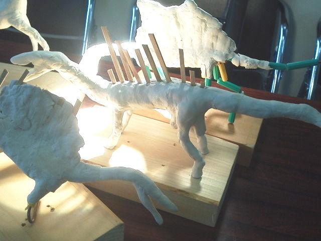 肉付けされた恐竜の骨格