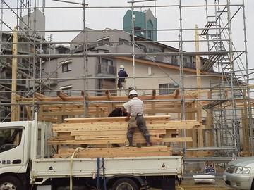 材木の搬入