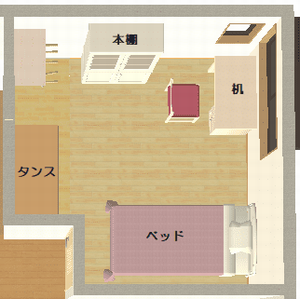 実際の子供部屋の家具配置図