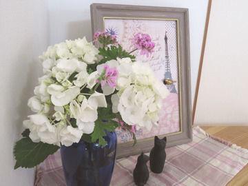 白いアジサイとピンクのローズゼラニウムを生けたブルーの花瓶の画像