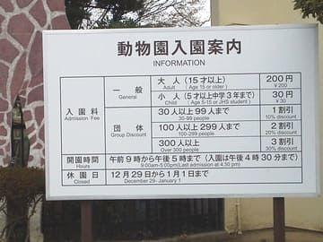 姫路市立動物園入場料看板