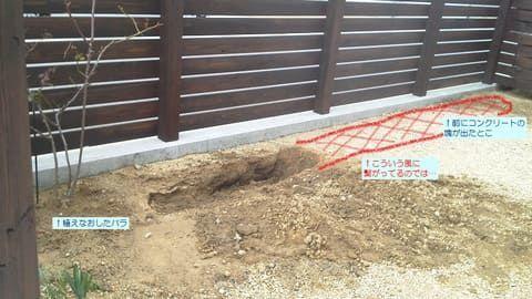 塀沿いに残留物が埋まっている予想図