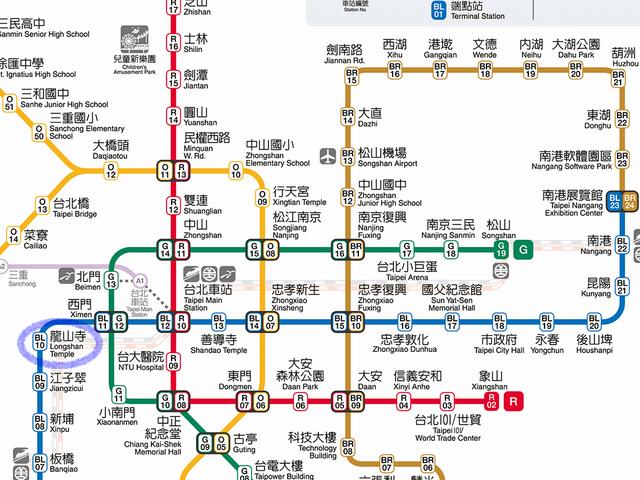 シーザーメトロ台北の最寄り駅の路線図