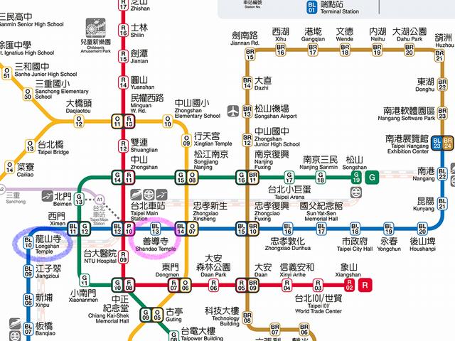 台湾MRTの龍山寺から善導寺までの路線図