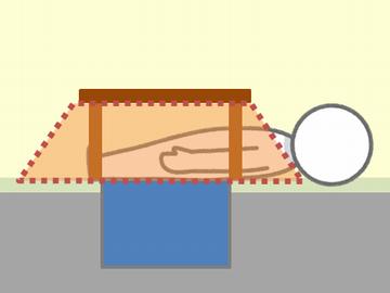 掘りごたつに寝た人のイラスト