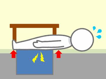掘りごたつに寝た人の苦労しているイラスト