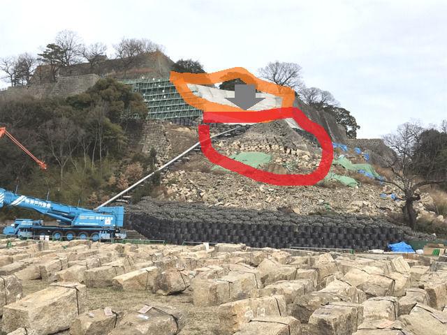 丸亀城の石垣崩落現場の様子