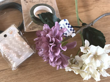 手作りコサージュの材料 100均の造花ダリア・アジサイ