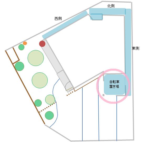 建物に併設した自転車置き場の図