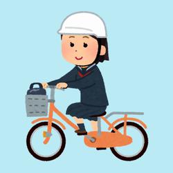 ヘルメット姿で自転車通学する中学生のイラスト