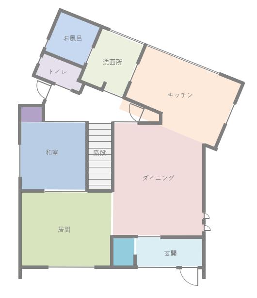 ちょっと曲がった家の間取り図1階